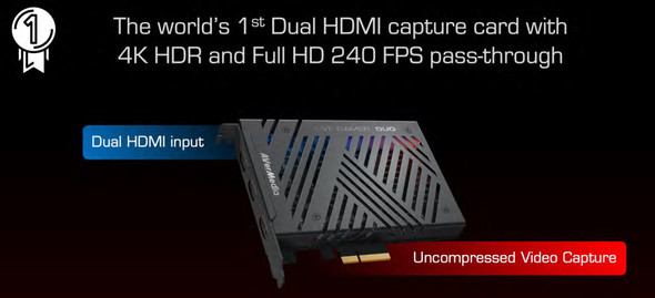 AVERMEDIA GC570D 4k HDR and 1080p240 pass-thru. Record @ 1080p60 HDR with Dual-HDMI input + 1 HDMI output.