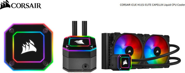 CORSAIR Hydro Series, H115i Elite CAPELLIX 280mm Radiator, 2x ML140 RGB PWM Fans, Ultra Bright RGB Pump Head. Liquid Cooling, 5 Yrs Warranty.