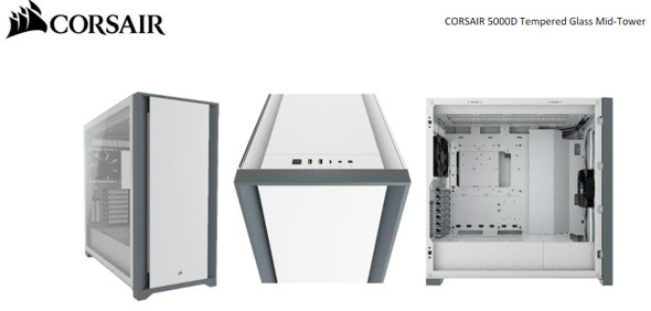 CORSAIR 5000D TG E-ATX, ATX, USB Type-C, 2x 120mm Airguide Fans, Radiator 360mm. 7x PCI, 4x 2.5' SSD, 2x 3.5' HDD. VGA 420mm. White Tower Case