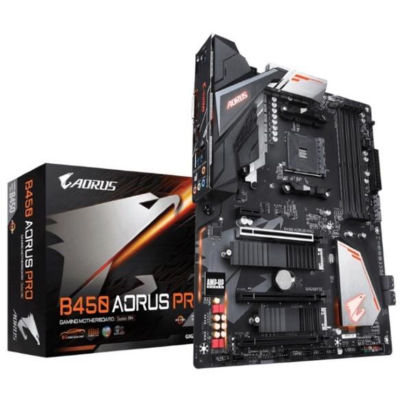 GIGABYTE B450 AORUS PRO AMD Ryzen Gen3 AM4 ATX Motherboard 4xDDR4 4xPCIE 2xM.2 DVI HDMI RAID Intel GbE LAN 6xSATA 1xUSB-C 7xUSB3.1 RGB (LS)