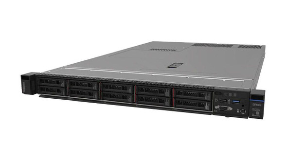 LENOVO ThinkSystem SR645 1U Rack Server, 1x AMD EPYC 7262 3.2Ghz, 1x16GB 3200Mh, 8 x 2.5' HS HDD Bays, 4x 1Gbe ,1x110W PSU, 3 Year Warranty