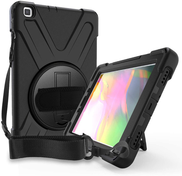 GENERIC Black Case for Samsung Galaxy Tab A 8.0 - Shockproof, Dustproof, 360 Rotatable Hand Strap, 3 Layers Heavy Duty Protection