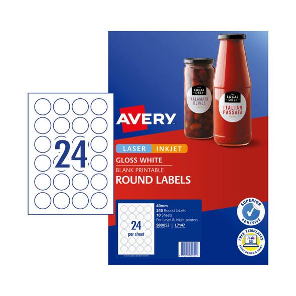 AVERY Lbl Gls Rd L7147 40mm Pk240