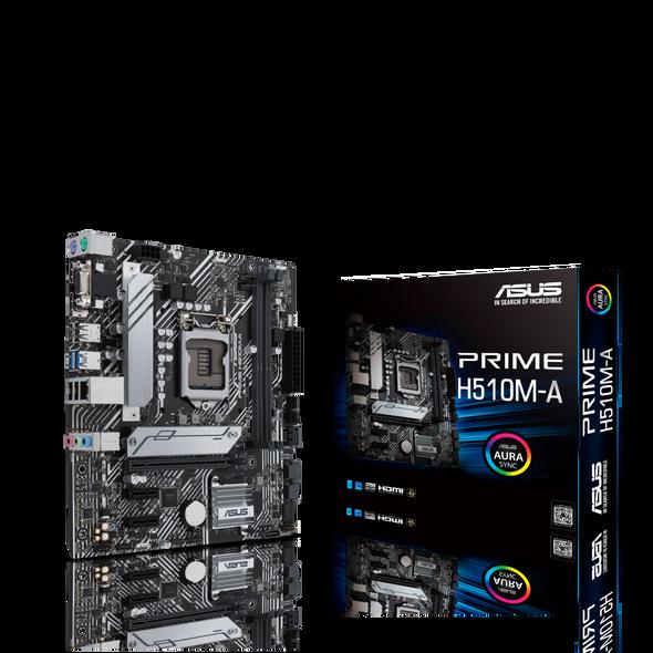 ASUS PRIME H510M-A Intel H510 LGA 1200 Micro ATX Motherboard PCIe 4.0, 32Gbps M.2 slot, 1 Gb Ethernet, DisplayPort, HDMI, D-Sub, SATA 6 Gbps