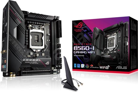 ASUS ROG STRIX B560-I GAMING WIFI Intel B560 LGA 1200 Mini-ITX Motherboard PCIe 4.0, 8 Teamed Power Stages, WiFi 6 (802.11ax), 2.5 Gb Ethernet, RGB