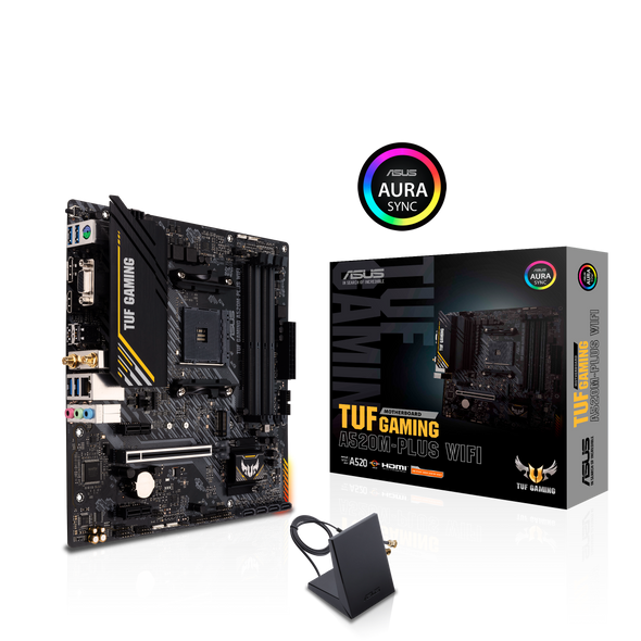 ASUS TUF GAMING A520M-PLUS WIFI AMD A520 (Ryzen AM4) Micro ATX Motherboard with M.2 support, 802.11ac Wi-Fi, 1 Gb Ethernet, HDMI/DP/D-Sub, SATA 6 Gbps