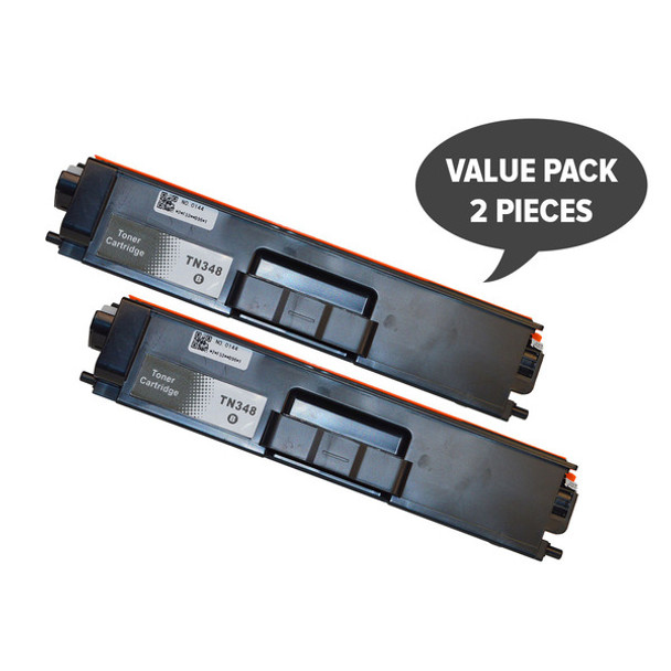 2 x TN-348 Black Super High Yield Generic Toner