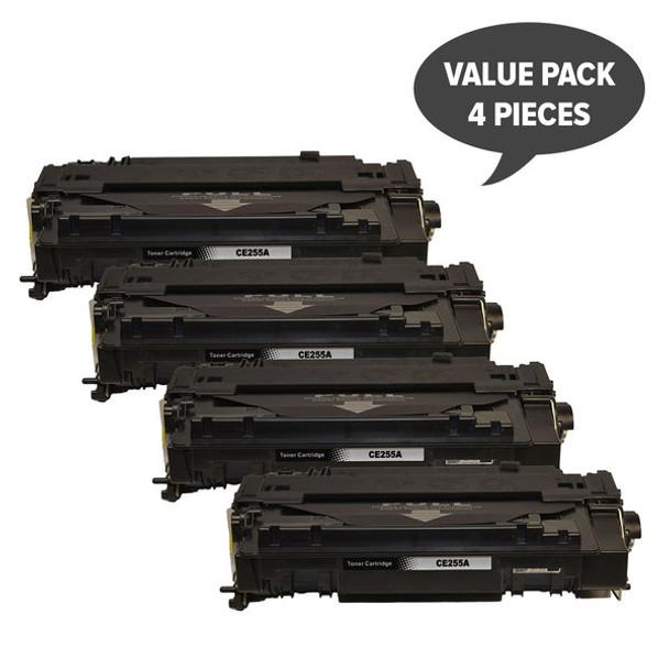 HP Compatible CE255A #55A Black Compatible Laser Toner x 4