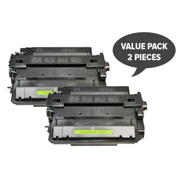 HP Compatible 2 x CE255X #55X Black Compatible Laser Toner