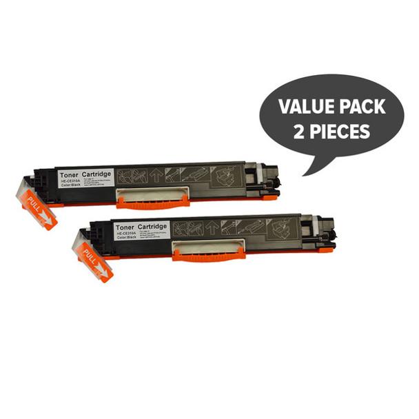 HP Compatible 2 x CE310A #126A Cart329 Black Premium Generic Toner