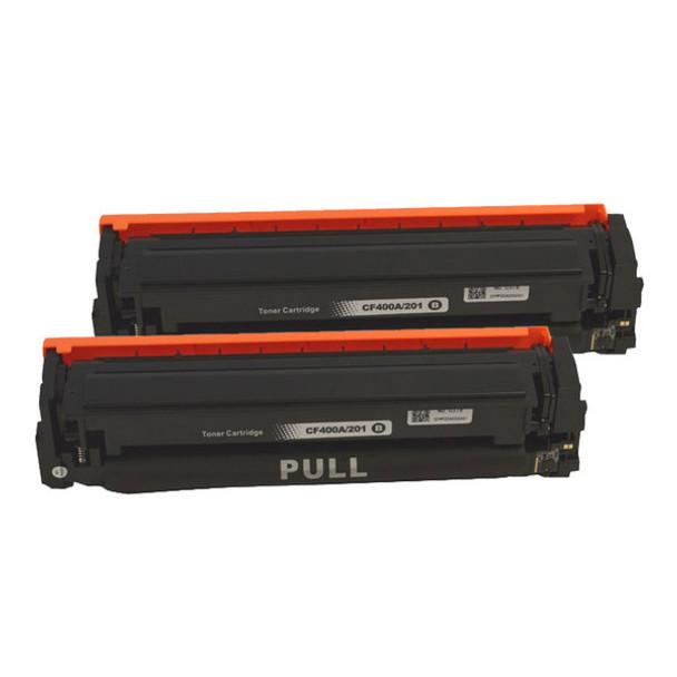 HP Compatible CF400A #201A Premium Generic Black Toner Cartridge x 2