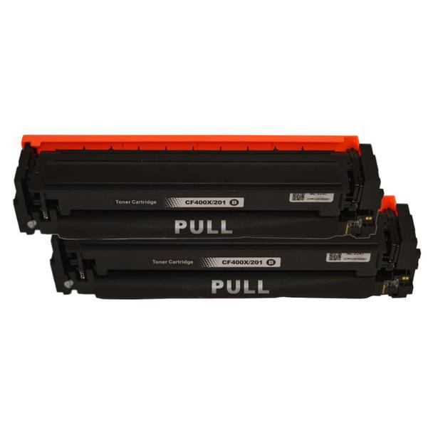 HP Compatible CF400X #201X Premium Generic Black Toner Cartridge x 2