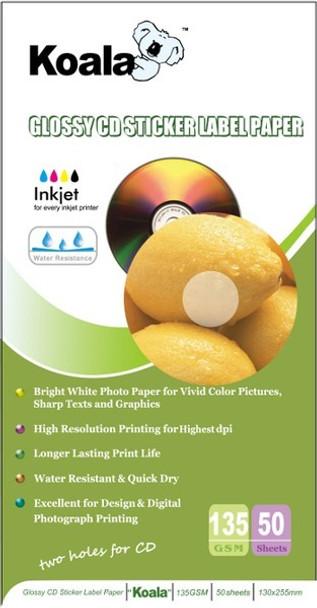 135gm Glossy CD Sticker Paper (100 Labels)