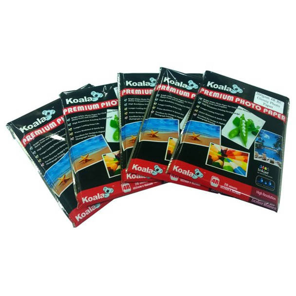 260g 4R (4x6) RC Glossy Photo Paper (20 Sheets) x 5 Pack