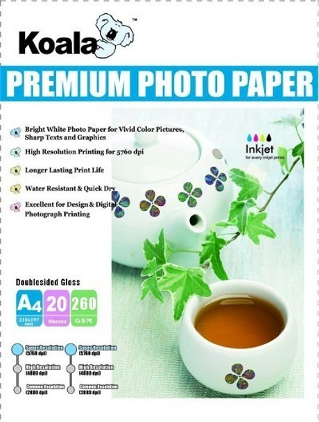 AUSTiC 260gsm A4 Double Sided High Gloss Photo Paper (20 Sheets)