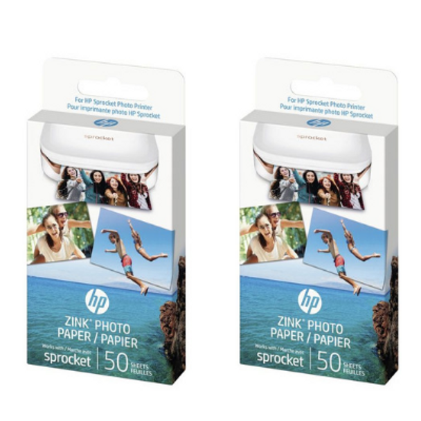 "Genuine HP Sprocket Zink Sticky backed Photo Paper 1RF42A (50 sheet, 2""x 3"") x 2 Pack"