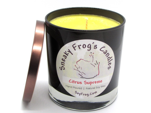 Libbey(tm) Brand Black Glass w/ Clear Bottom Soy Wax Candle, Soy Wax Candle, Fancy Candle, Sneaky Frog's Candles, Natural Soy Wax, Elegant Candle