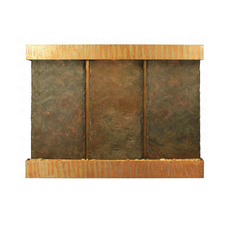 Triple Nojoqui NSI Lightweight Slate Wall Fountain with Copper Patina Trim
