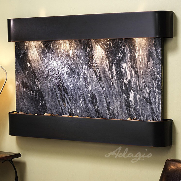 Sunrise Springs - Black Spider Marble - Blackened Copper - Rounded Corners - Indoor Fountain Pros