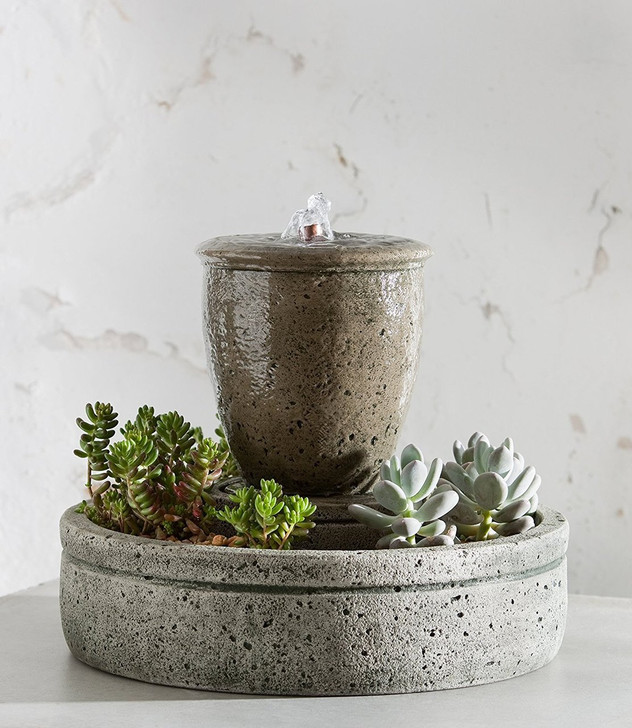 M-Series Rustic Spa Fountain with Planter - Indoor Fountain Pros