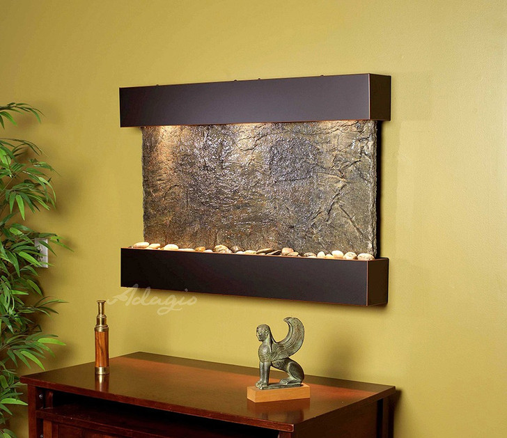 Reflection Creek - Green Slate with Blackened Copper Trim and Square Corners