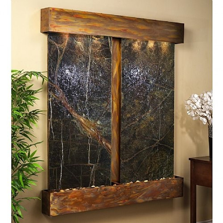 Cottonwood Falls Wall Fountain with Rustic Copper Trim and Green Rainforest Marble Wall Fountain with Squared Corners