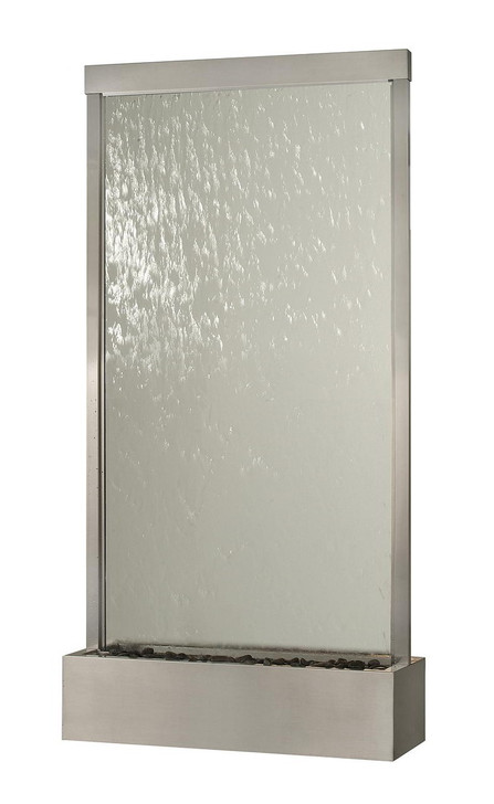 10' Brushed Stainless Steel Grande With Clear Glass Floor Fountain