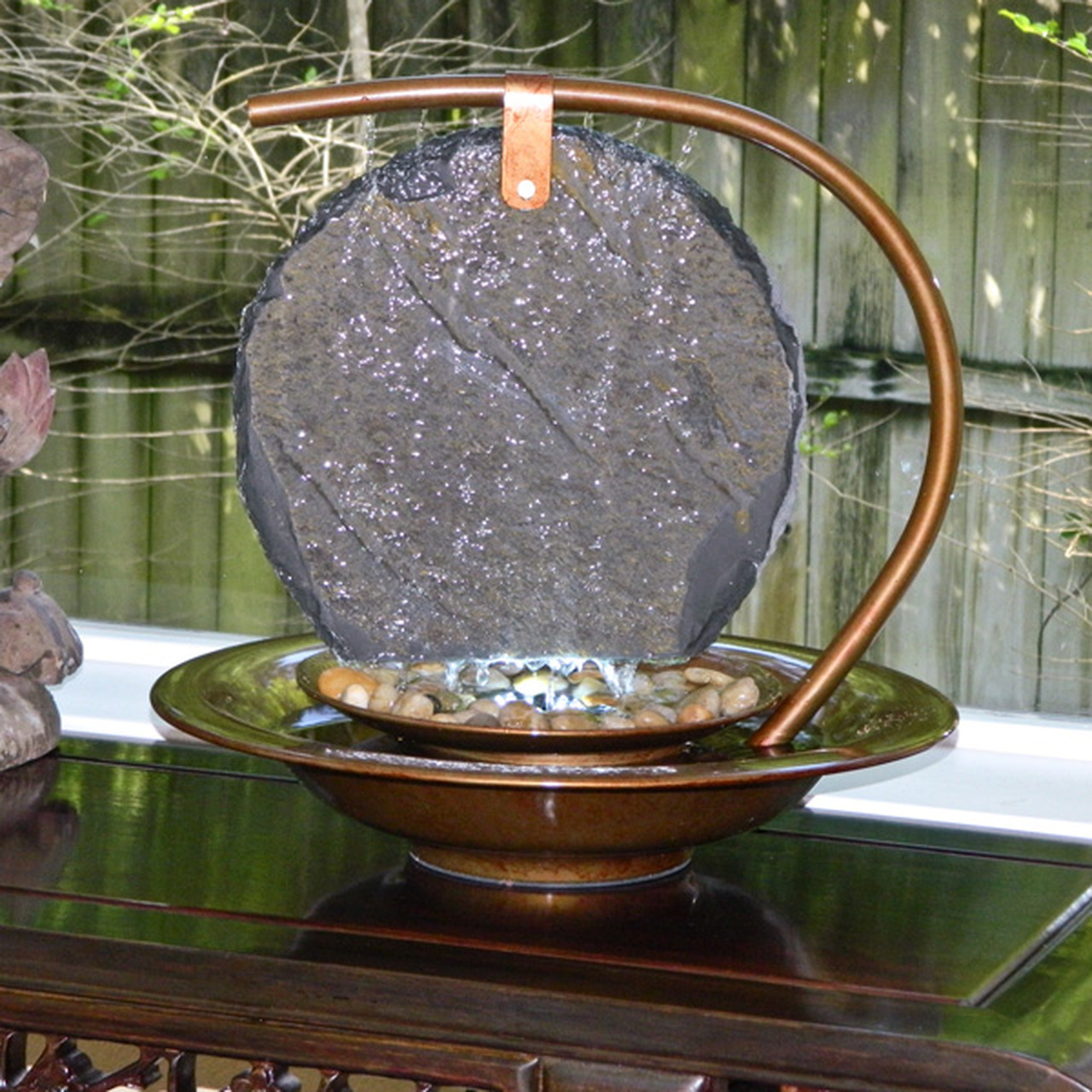 Water Panel Wave Tabletop Outdoor Fountain
