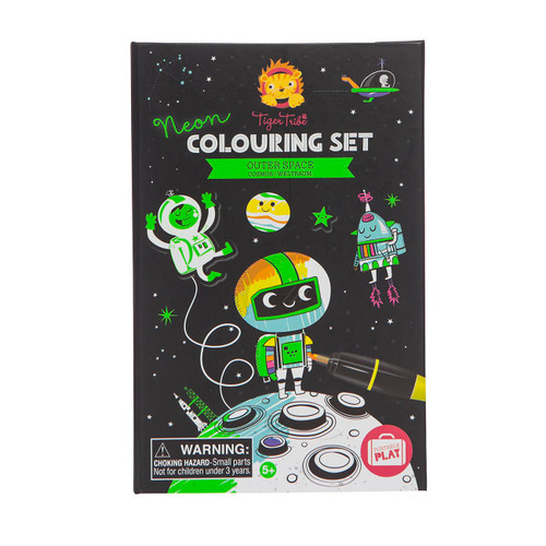 Tiger Tribe Neon Colouring Set - Outer Space - Front view