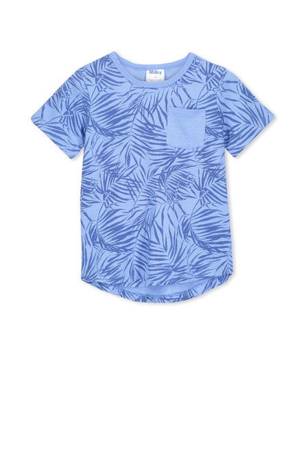 Milky Blue Palms Tee - Front