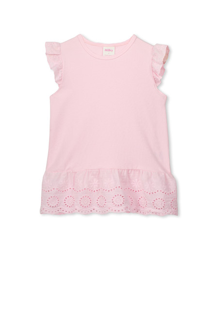 Milky Broderie Frill Tee - Kid - Front