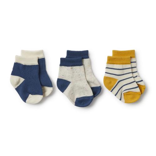 Wilson and Frenchy Jojoba, Deep Blue, Fleck 3 Pack Baby Socks