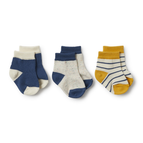 Wilson and Frenchy Jojoba, Deep Blue, Fleck 3 Pack Baby Socks