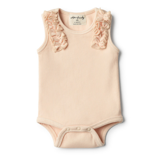 Wilson and Frenchy Peach Dust Bodysuit with Ruffle - Front