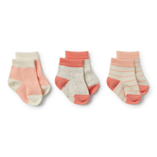 Wilson and Frenchy Watermelon, Peach Dust, Fleck 3 Pack Baby Socks