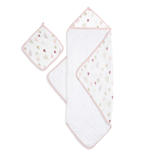 Aden + Anais Heartbreaker Muslin Backed Hooded Towel Set