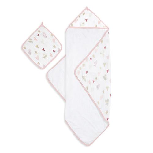 Aden + Anais Heartbreaker Muslin Backed Hooded Towel Set