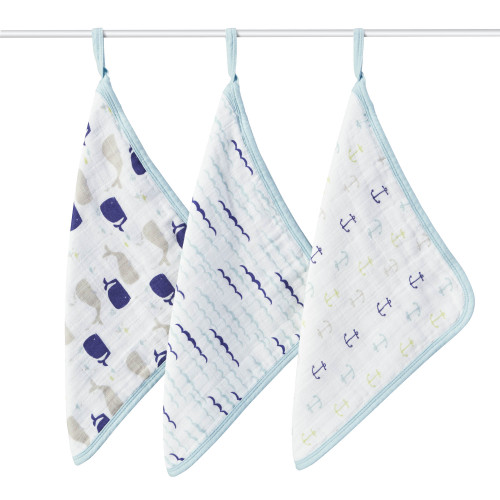 Aden + Anais High Seas Muslin Washcloth 3-pack