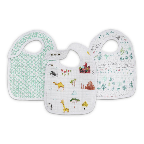 Aden + Anais Around The World Classic Muslin Snap Bibs 3-pack