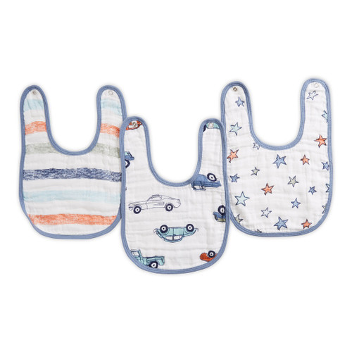 Aden by Aden + Anais Hit The Road Classic Muslin Snap Bibs 3-pack