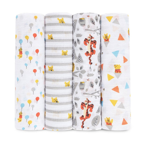 Aden by Aden + Anais Graphic Winnie Disney Baby Classic Swaddles multi pack 4
