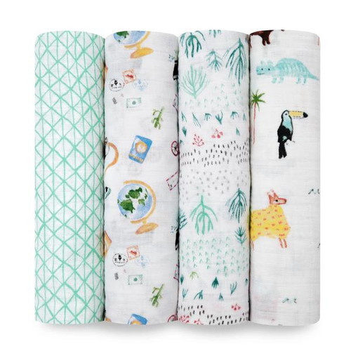 Aden + Anais Around The World Classic Muslin 4-pack Swaddles
