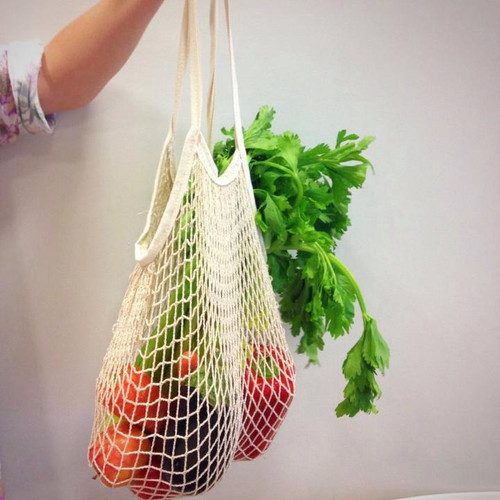 #untrashy Mesh Tote Expandable String Bag holding fruits & Veg