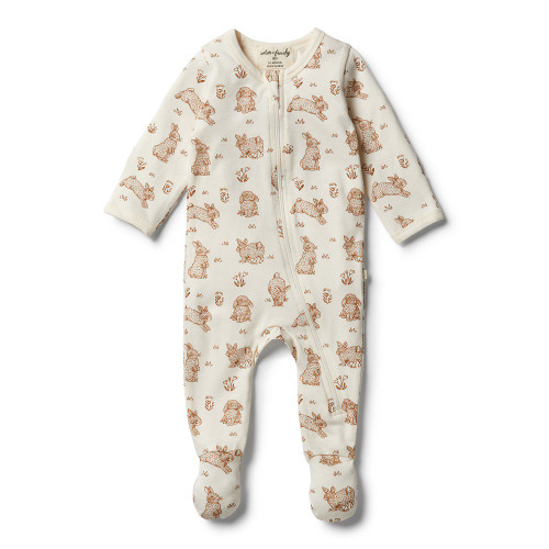 Wilson and Frenchy Organic Little Hop Zipsuit - Front