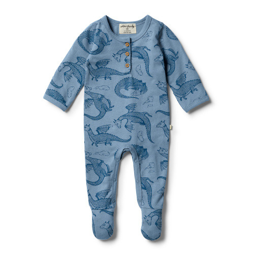 Wilson and Frenchy Organic Little Dragon Henley Growsuit - Front