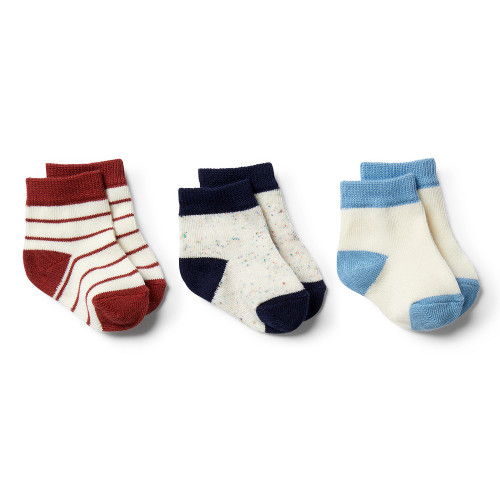 Wilson and Frenchy Faded Denim, Chilli, Twilight Blue 3 Pack Baby Socks
