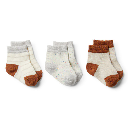Wilson and Frenchy Cloud Grey Melange, Oatmeal, Toasted Pecan 3 Pack Baby Socks