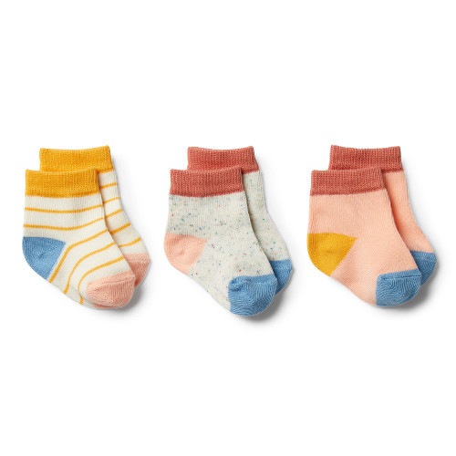 Wilson and Frenchy Golden Apricot, Tropical Peach, Clay 3 Pack Baby Socks