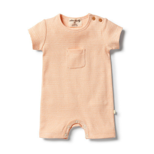 Wilson and Frenchy Organic Marigold Stripe Rib Growsuit - Front