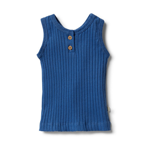 Wilson and Frenchy Organic Rib Tank Sapphire - Front